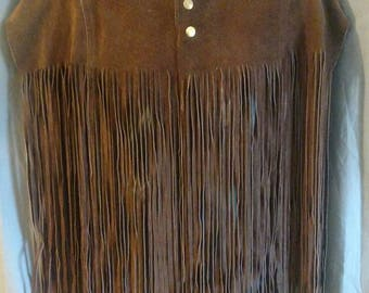 Vintage 1960s Suede Poncho / 60s Suede Cape with Fringe by McGregor Men's size Large