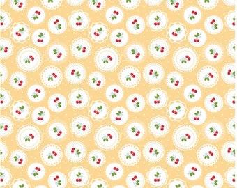 Sew Cherry 2 Cotton Fabric - Yellow- Lori Holt Bee In My Bonnet - Riley Blake Fabrics