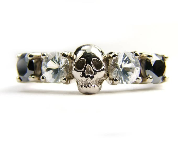 Solid 14K White Gold Skull Wedding Band Natural Black Diamond White Sapphire Wedding Ring Goth Psychobilly Rockn Roll Memento Mori All Sizes
