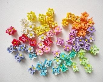 5 FLOWER RINGS, flower beads, tiny flower beads, tiny flower ring, spring flower ring, flower ring beads, pastel flower beads, jewelry beads