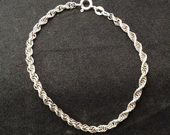 Vintage Sterling Silver 3mm Signed Twisted Rope Chain Bracelet, 3mm Sterling Silver Twisted Rope Bracelet