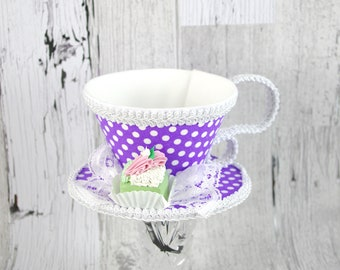 Purple and White Polka Dot with Green Petit Four Tea Cup Fascinator Hat, Alice in Wonderland Mad Hatter Tea Party, Derby Hat
