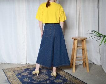wide denim culottes / cropped denim / 33w / large / jean crops / wide leg crops / jean culottes / high waist / high waist jeans