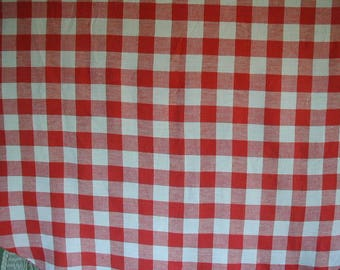 "Vintage Tablecloth, Red and White, Gingham Check, Large Scale, Round Tablecloth,  68"" in Diameter, Picnic Tablecloth"