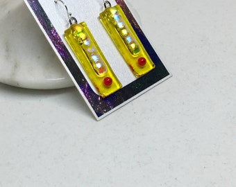 Earrings –Yellow and Red Dichroic Fused Glass Earrings