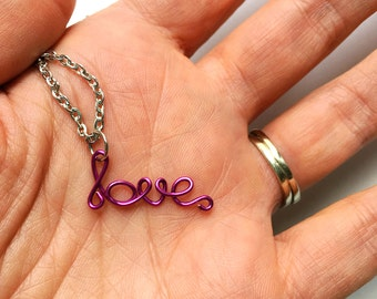 Magenta Love Necklace Dainty Pink Jewelry Gift For Her