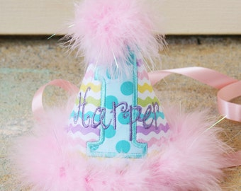 Girls First Birthday Party Hat - Easter or Spring pastels in pink, purple, aqua, green, and yellow stripes - Free personalization