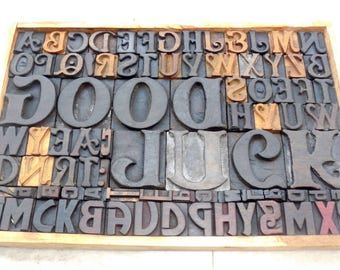50% discount Collage 83 Vintage Letterpress Good Luck Wood Type All Letter in Mix size & fonts for decoration, craft and many use.#be-314