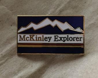 McKinley Explorer Mountain Enamel Vintage Pin Pinback