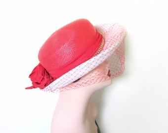 Vintage Red/White Straw Hat w/Veil~ Kentucky Derby Hat