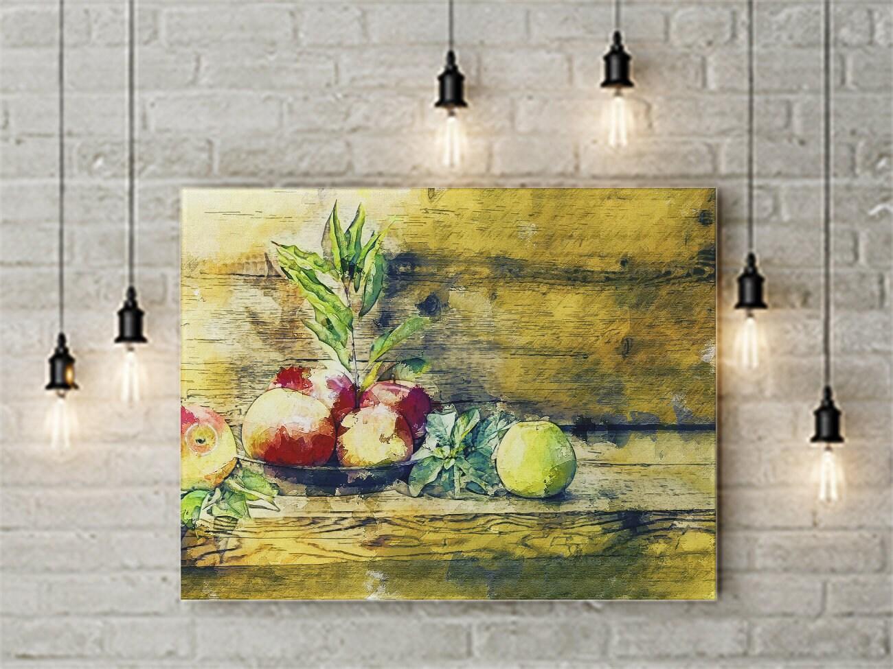 20x16 Rustic Country Apple Wall Art Apple Print Green