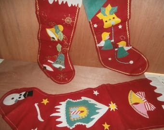 Vintage Christmas decorations fireplace stockings felt Japan set 3 bells snowman angels