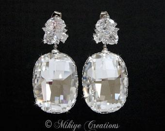 Wedding Earrings - Large Bridal Chandelier Swarovski Crystal Cubic Zirconia Earrings - Charlotta In Crystal