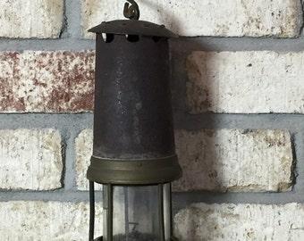 Antique Miner's Lamp, Old Lamp, Vintage Mining, Victorian Lamp