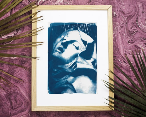 Bernini Sculpture Cyanotype, Ecstasy of St. Teresa Fine Art Print, Virgin Mary Gift, Catholic Art, Religious Artwork, Wall Art, Mother Mary