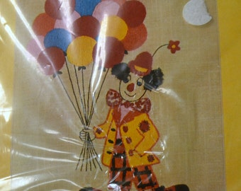 Clown with Balloons Crewel Embroidery Kit Coats & Clark