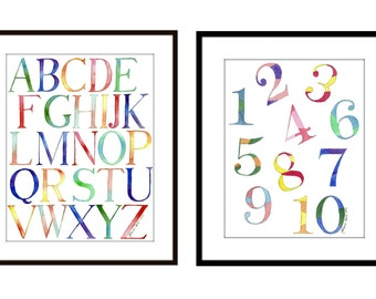 Rainbow Alphabet Letters and Numbers Watercolor Paintings - 1 2 3 ABC Kids Room Watercolor Art Prints - 11x14 Wall Art