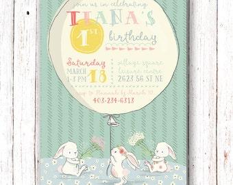 Bunny Birthday Invitation, Bunny Birthday Party Invitation, Balloon Birthday Invitation, First Birthday Invitation, Girls Birthday, Balloon