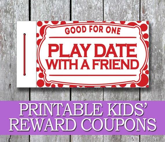 Printable Kids Coupon Book Kids Reward Coupons DIY Birthday