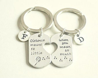Long distance relationship key chain key ring, long distance relationship girlfriend boyfriend friendship gift, Distance Means So Little