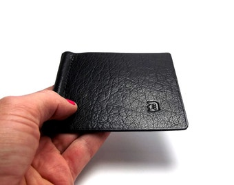 Monogrammed Leather Money Clip / Personalized / Black Leather Wallet / Handmade by Sakao on Etsy