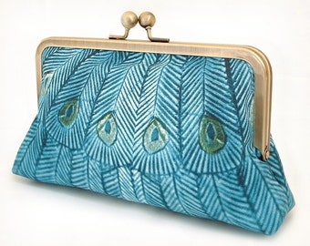 Teal peacock clutch bag, peacock purse, wedding bag, blue silk handbag