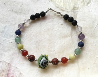 Green Eye Bead and Seven Chakra Aromatherapy Bracelet