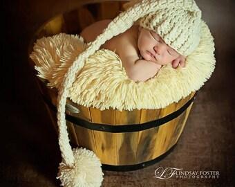 Newborn Elf Hat, Cream Newborn Hat, Newborn Photography Prop, Long Tail Hat, Stocking Cap, Crochet Baby Hat, Newborn Pom Pom Hat,Neutral Hat