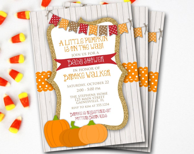Pumpkin Baby Shower Invitation, Fall Baby Shower Invitation, Rustic Baby Shower, Halloween Baby Shower, Printable Invitation,DIY Printable