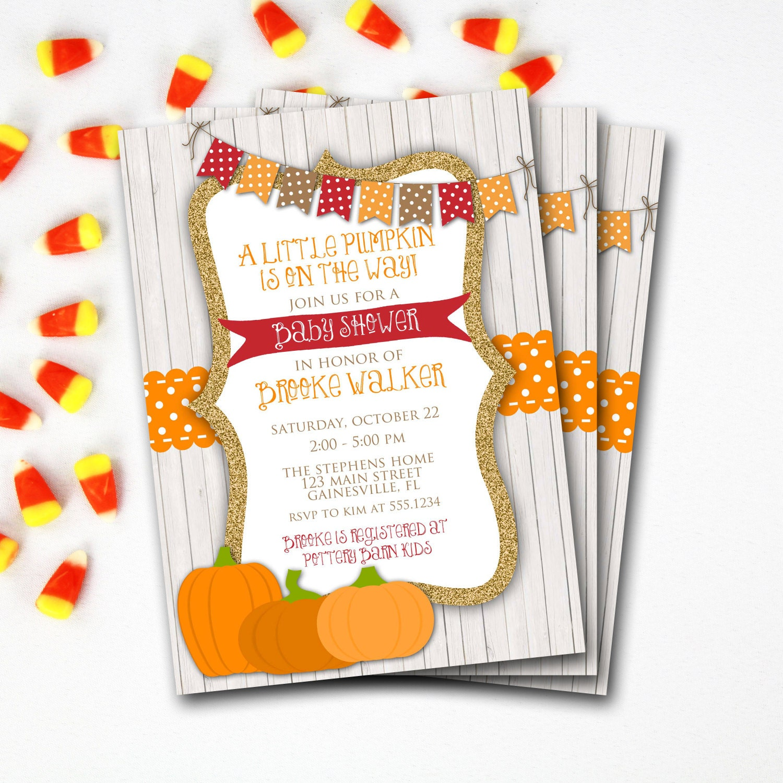 Pumpkin Baby Shower Invitation, Fall Baby Shower Invitation, Rustic ...