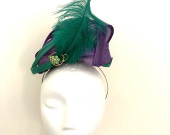 Sea Green and Deep Purple Silk Headpiece