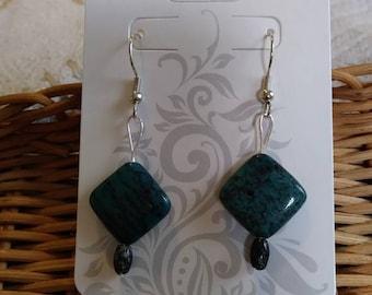 Blue Jasper and Moss Agate Natural Stone Earrings (Nickel Free Hooks)