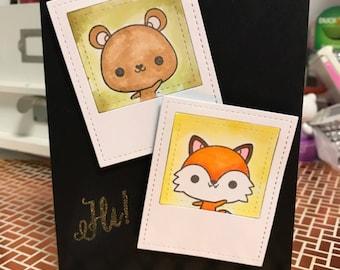 Hi fox & bear greeting card