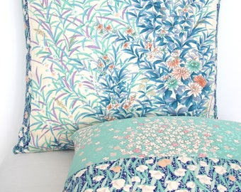 Luxury Decorative Pillow Cushion in Dusty Pink, Teal & Blue Hand Painted Floral and Grasses made from rare Japanese Kimono Silk Ltd Edition