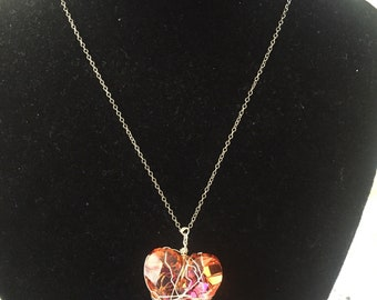 Orange crystal  swarovski necklace