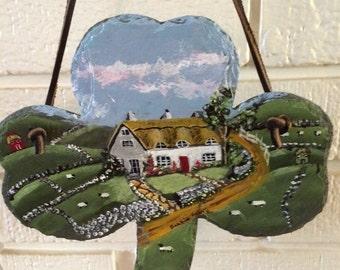 Thatched Cottage Shamrock Slate