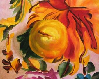 Original Painting Pear, Kitchen art, Still life painting, Wall decor,