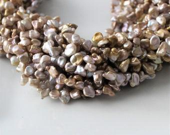 Champagne Keshi Pearls, Gold Pearls, Beige Pearls, Keishi Pearls, Petal Pearls Cornflake PearL Top Drilled Pearl 6mm-10mm Full Strand KP320