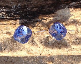 Golf size 12mm square for Swarovski Crystal Earring Tanzanite