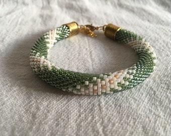 Green Spiral Bead Crochet Bracelet