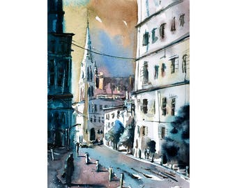 Watercolor painting.  Cityscape scene painted in watercolor by Raleigh, NC artist Ryan Fox.  Watercolor painting of cityscape fine art print
