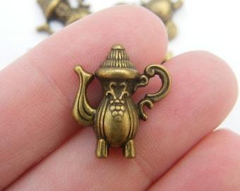 8 Teapot charms antique bronze tone BC83