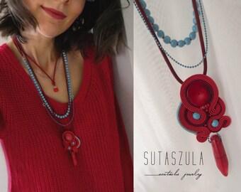 Boho chic necklace Soutache Necklace, festival necklace, gioielli soutache pendant chic red Necklace coral necklace Gypsy Necklace Bohemian