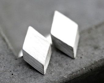 Geometric Modern Post Earrings, Brushed Sterling Silver Diamond Stud Earrings Silver Studs