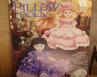 Potpourri Pillow Dolls crochet pattern booklet by Annie's Attic - #879301 - vintage, 1996 - crochet Doll dress leaflet - spring flower theme
