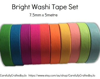 Washi Tape Pack - Set of 10 - Thin - 7.5mm x 5mtr - Bright Colours - Blue, Green, Yellow, Pink & more