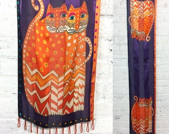 vintage 90s silk cat print scarf / crazy cat lady Laurel Burch print scarf