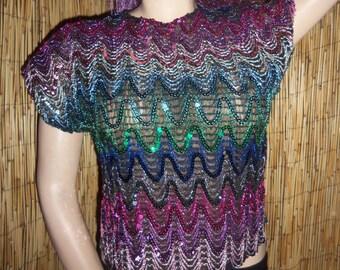 VTG 70s 80s USA S Rainbow Sequin Glitter Silver metallic Disco Top Shirt Raver Club Kid Glam Rock 70s 1970s
