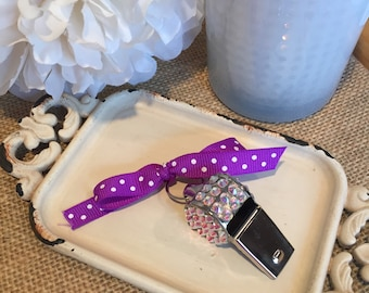 Blinged whistle! Ribbons can be customized.
