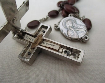 vintage seed rosary - reliquary crucifix- cross with secret compartment, made in Italy